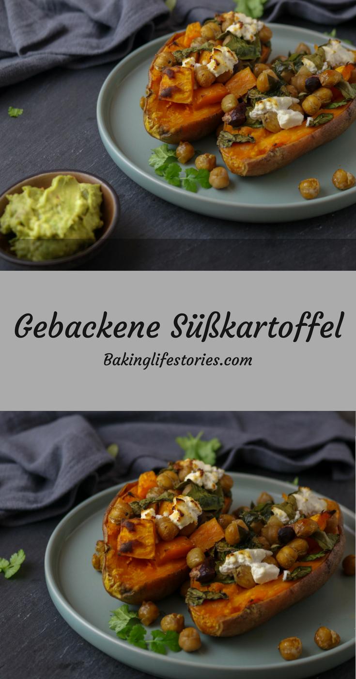 Gebackene Süßkartoffel mit Spinat & Ziegenkäse