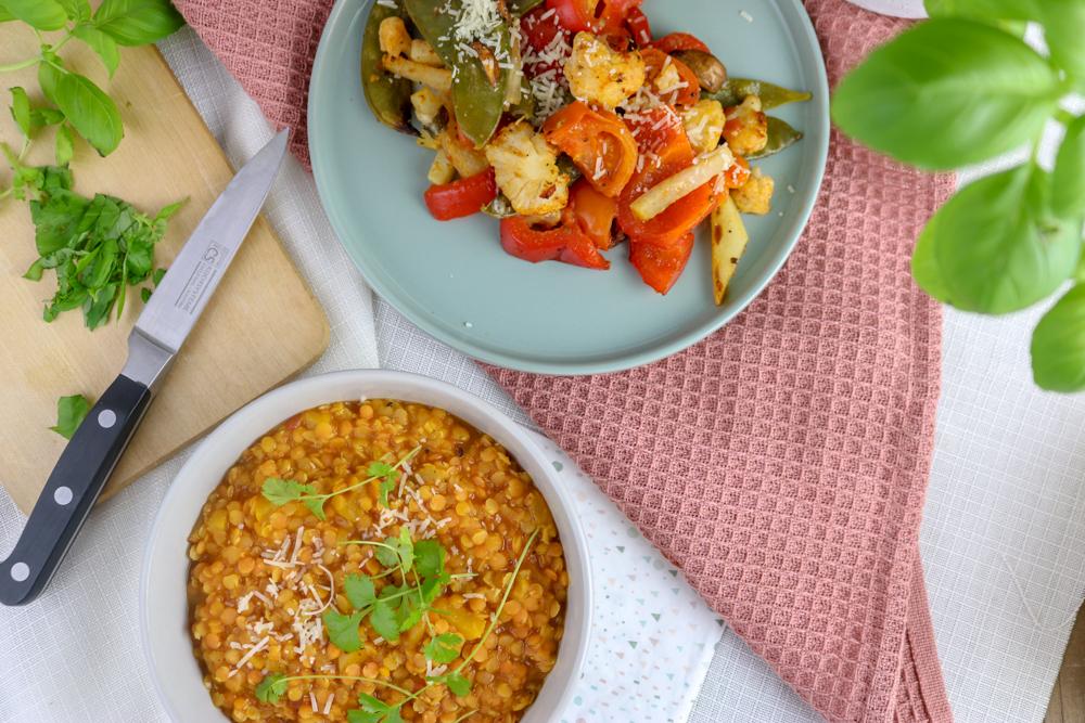 Linsen-Pfirsich Dal mit Ofengemüse – #Veggiedienstag