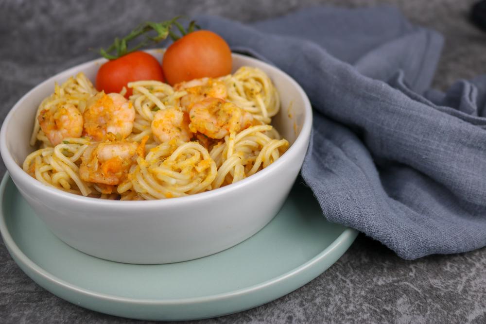 Dinkel-Spaghetti mit Süßkartoffel-Sugo – #Veggiedienstag
