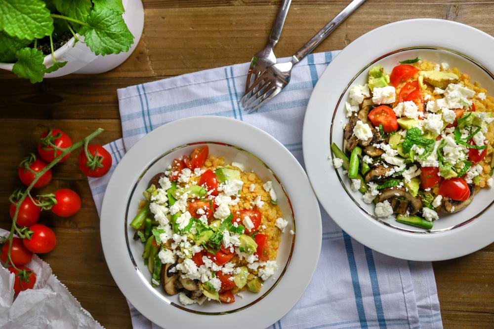 Schneller Linsensalat mit Frühlingsgemüse & Feta – #Veggiedienstag