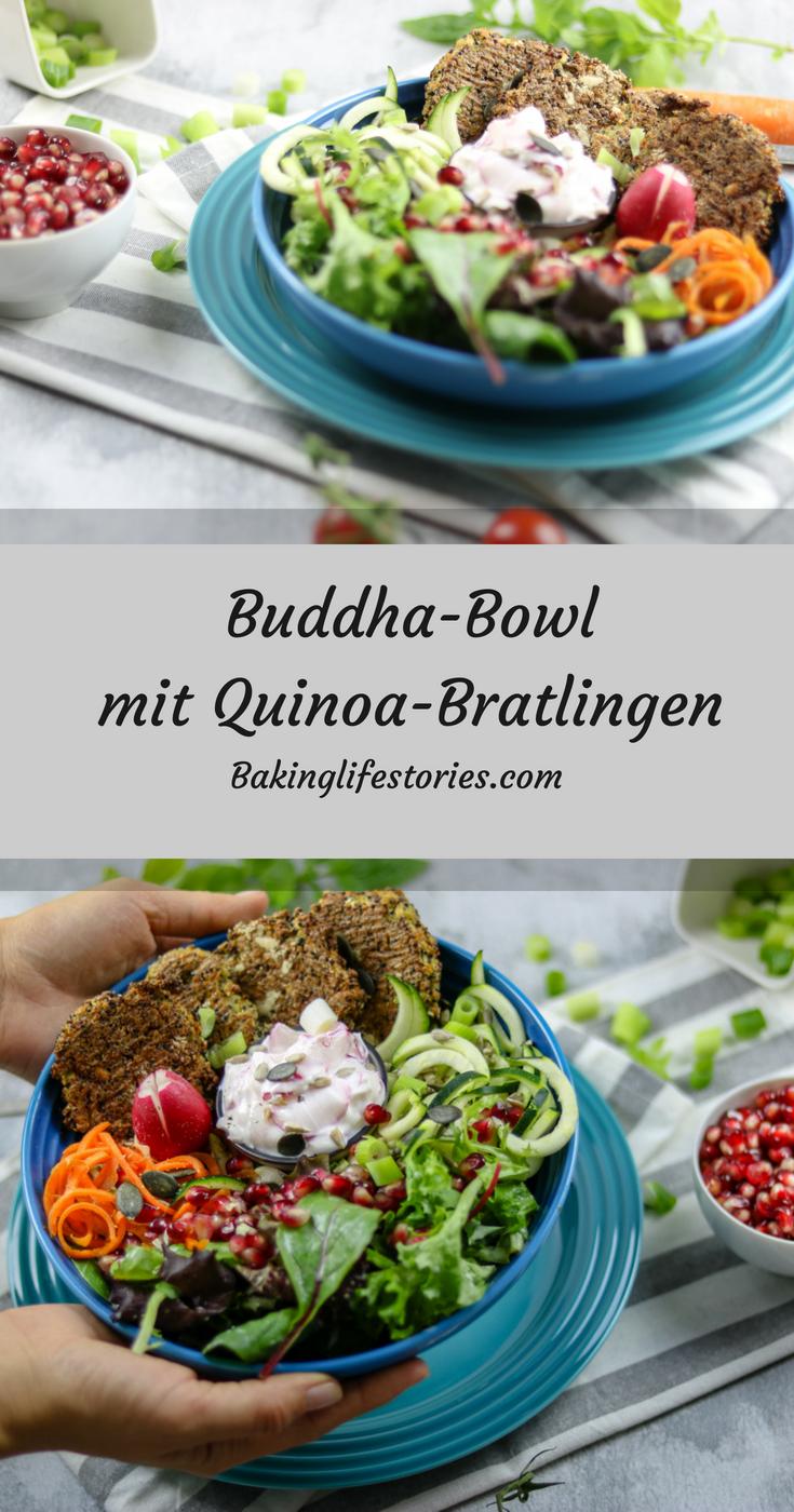 Summer Bowl mit Quinoa-Bratlingen und Ingwer-Limetten Dressing