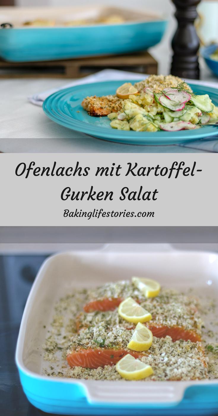 Ofenlachs mit Kartoffel-Gurken Salat.