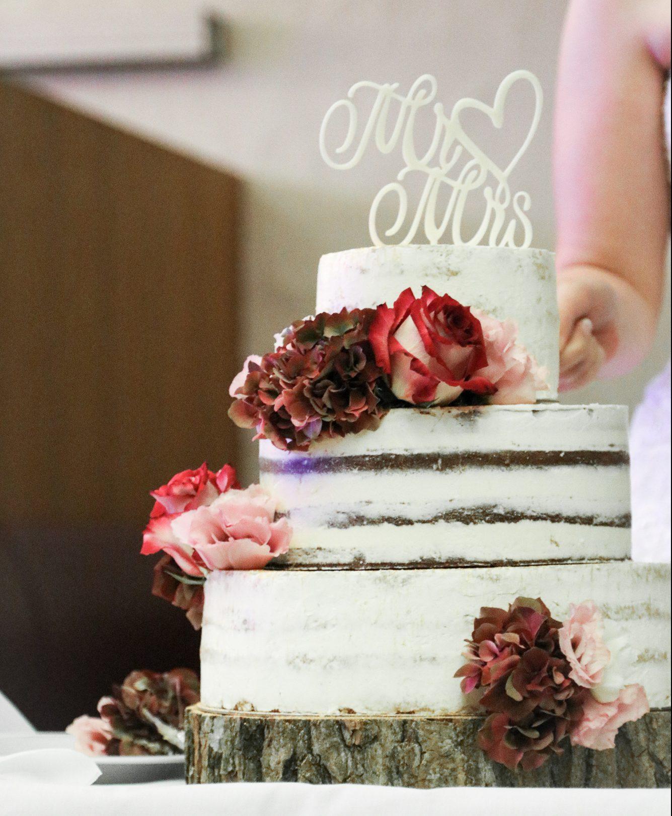 Semi-Naked Hochzeitstorte - der Anschnitt